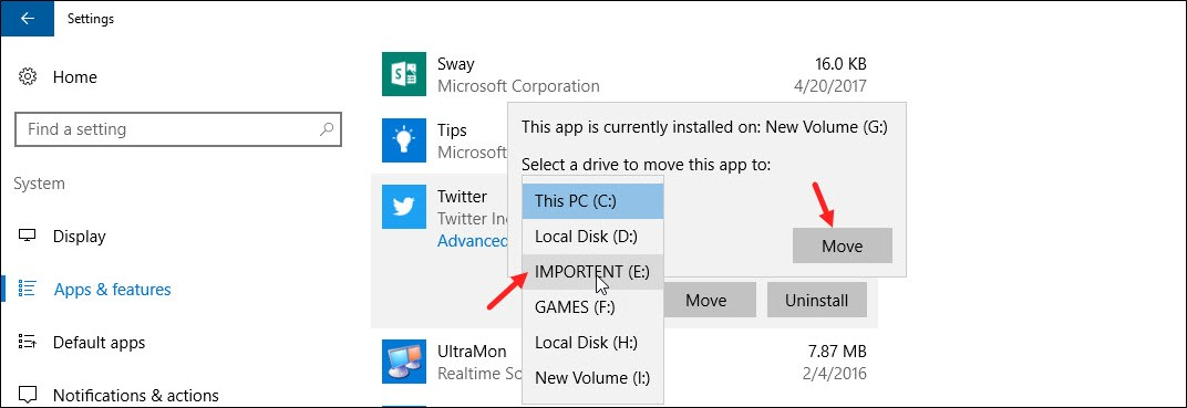 How to Move Installed Apps & Programs in Windows 10